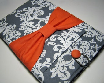 Macbook Pro Sleeve, Macbook Pro Cover, 13 inch Macbook Pro Cover, 13 inch Macbook Pro Case, Laptop Sleeve, Gray Demask w/ Coral Bow