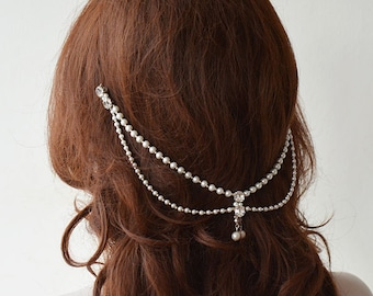 Bridal Hair Accessory, Wedding Headband, Pearl Headpiece, Crystal and Pearl, Bridal Head Chain, Pearl Hair Jewelry, Wedding Hair Accessories