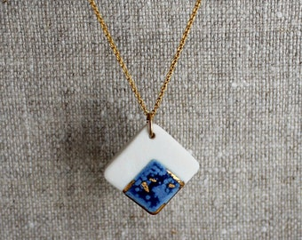 """White & Blue Porcelain Necklace with Gold / Platinum Lustre on 18"""" Gold Filled / Sterling Silver Chain"""