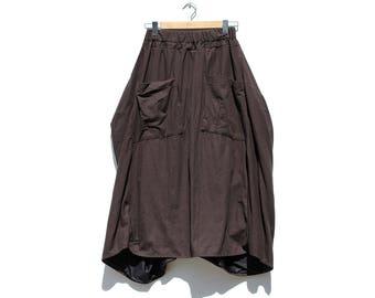 Dark Brown Cotton Draped Skirt