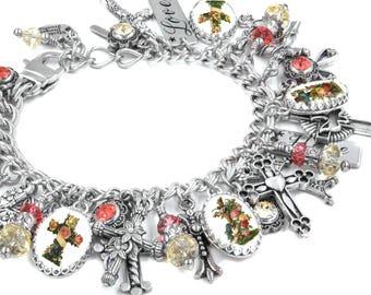 Cross Charm Bracelet, Christian Jewelry, Religious, Cross Bracelet, Christian Bracelet, Stainless steel, Religious Jewelry, Cross Jewelry