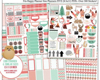 Planner Kit Stickers! Sweater Weather Printable Planner Kit  5 PDFs Over 300  EC or Happy Planner Coral & Mint Bible Foxes Fall