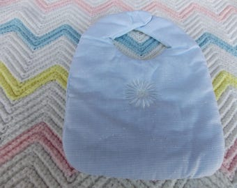HANDMADE BABY INFANT Bib Soft Blue with Embroidered White Flower