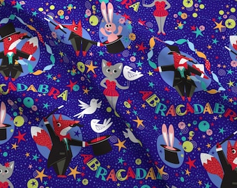 Magic Fabric - Abracadabra By Cjldesigns - Magic Magician Illusion Animal Rabbit Fox Cat Kid's Cotton Fabric By The Yard With Spoonflower