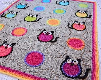 Crochet Blanket PATTERN - Cat Lover - crochet pattern for cat blanket, colorful cat afghan pattern, granny squares - Instant PDF Download
