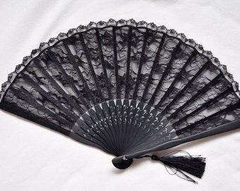 Black Lace Hand Fan -Handheld Folding Fan, Spanish Hand Fan, Lace hand fan, black hand fan
