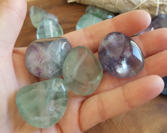 Rainbow Fluorite ~ 1 large Reiki infused tumbled crystal approx 1.25-1.4 inches