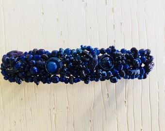 Blue seed bead barrette