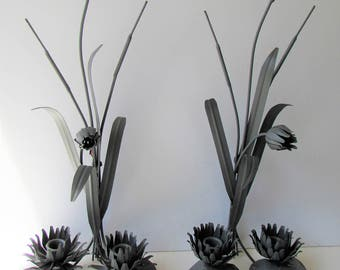 Vintage Metal Wall Sconces - Painted Metal - Waterlily -  Cattail - Candle Wall Sconces - Painted Grey - Cottage Chic -