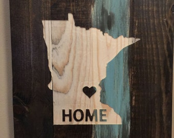 Art sign - State - Minnseota Hand painted, Rustic Wood Sign, Distressed Sign, Home Wall Decor, Wood Stain Sign