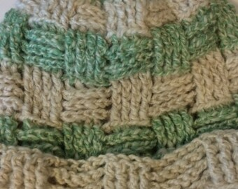 Alpaca Hat - Seafoam Green/White