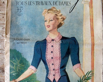 "vintage french magazine, ""Mon ouvrage"" 1939 april 15"