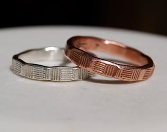 WEDDING RING SET -  Fine Silver and Copper Ring Set - Architectural  - Slim Ring Band-Textured Band - Wedding Band - Unisex Style Ring