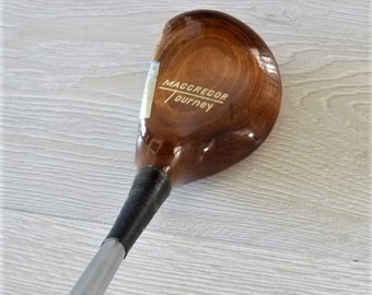 Vintage MacGregor Tourney Driver (1 Wood), Believed 1960's, Unique Aluminum Insert, Multi-shade finish on Persimmon.  G/VG, Brass sole plate