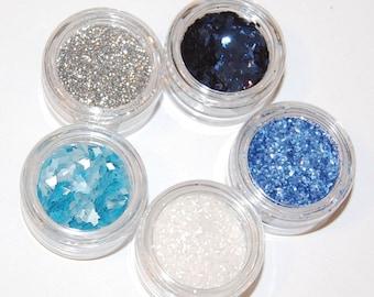 Nail Glitter, Blue, Silver, White, Solvent Resistant, Glitter, Metallic Glitter, Nail Polish Glitter, Nail Art, Craft Glitter, Slime Glitter