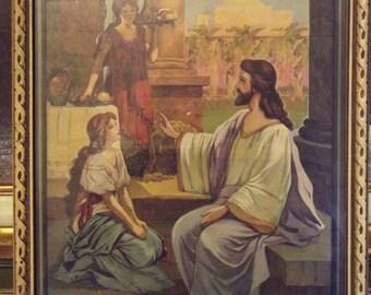 Framed Illustration Art Mary Martha Jesus Christ Vintage Bible Print