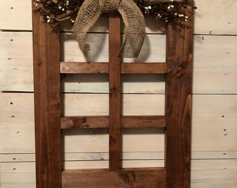 Large Primitive Wall Decor 6 Pane Wood Window Frame Primitive Country Wall  Decor Handmade Wood Window Frame Burgundy And Cream Decor
