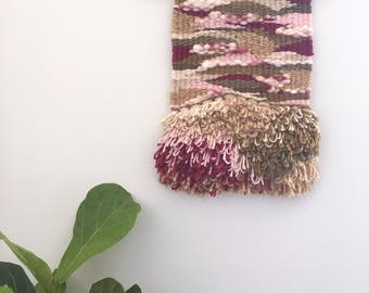Hand woven, tapestry wall hanging. Textile art, weaving, decor. 'Evanthe'. One of a kind.