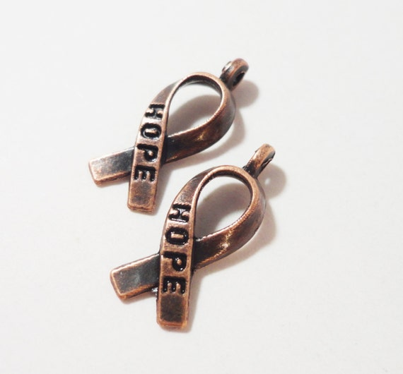 Hope Ribbon Charms 19x7mm Antique Copper Metal Cancer Awareness Ribbon Charm Pendant Jewelry Making Craft Supplies 10pcs