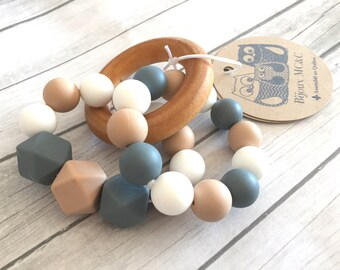 Toy teething, teether, silicone beads silicone sensory educational toy, teething rattle wooden, wooden toy for baby