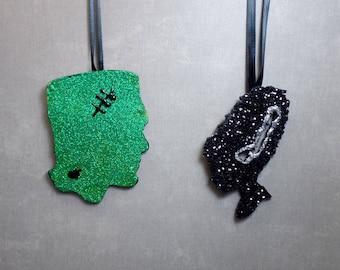 Set of 2 Glitter Monster Ornaments - Frankenstein & Bride - Halloween Tree - Psychobilly - Christmas Ornament - Horror Ornament
