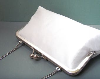 White clutch purse, silk bag with chain handle, wedding bridal clutch, bridesmaid gift