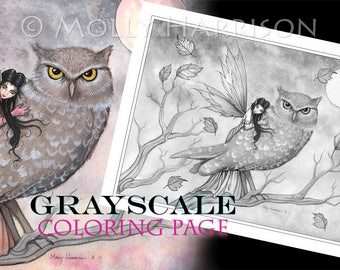 Friendship - Instant Download Printable Fairy and Owl GRAYSCALE coloring page by Molly Harrison -  8.5 x 11 JPG file