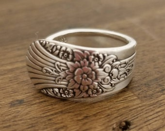 Steampunk Floral W.M. Rogers Antique Spoon Ring Jewelry