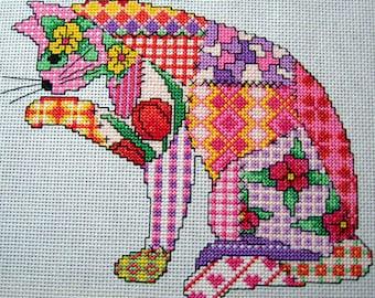 Patchwork Cat cross stitch Pattern. PDF instant download