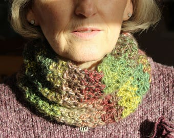 Snuggly cowl: crocheted warm scarf, present for partner, wife, girlfriend, Christmas present