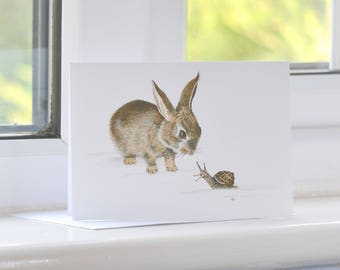Rabbit Card, Bunny and Snail Greetings Card, Cute Animal Print, Whimsy, UK Nature