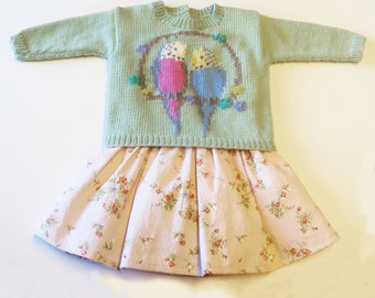 Cute Baby and Toddler Sweater with Intarsia Budgie, Parakeet, Motif - Instant Download Pattern PDF