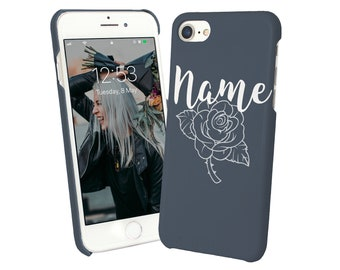 Custom Made Protective And Stylish iPhone 6 7 8 X Plus Case Cover For Her Personalized Name Text Initials Hand Painted Rose-Rstyle1