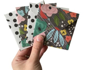Set of 4 // Mini Square Envelopes // Floral Stationery // Floral Envelopes // Bright Floral Stationery // Mini Envelopes // Square Envelopes