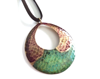 Rosewood & Verdigris Textured Oval on Leather #N1802