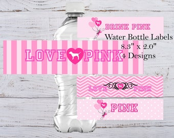 Love Pink Water Bottle Label Victorias Secret Bottle Label Sweet 16 Water Bottle Label Pink Birthday Party Pink Label Pink Stickers Sweet 16