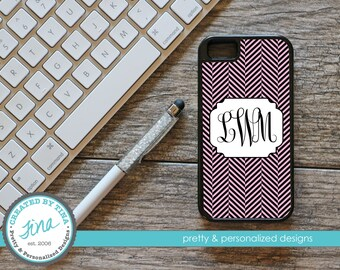 Pink & Black Herringbone Personalized Phone Case (Tough)