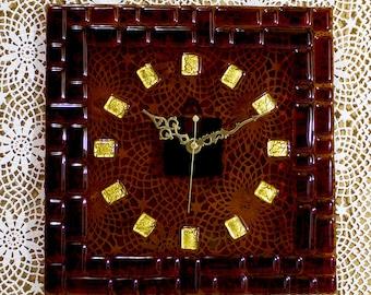 Wall Clock Handmade Fused Glass Designer Clock Square Brown Gold Leaf 24 carat