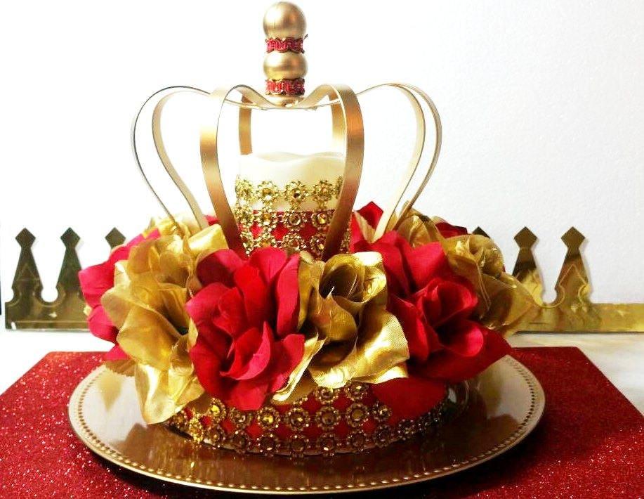 New red and gold baby shower crown centerpiece boys