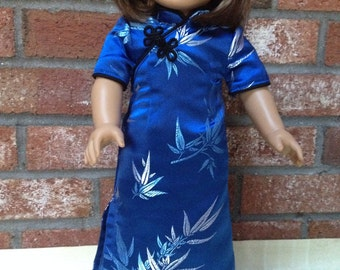 American girl doll clothes - Chinese dress - Cheongsam - Blue Bamboo