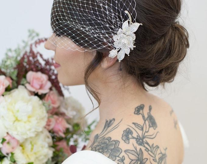 Birdcage veil, blusher veil, bandeau birdcage veil, gold comb veil, silver comb veil, ivory veil, vintage style veil, wedding birdcage veil