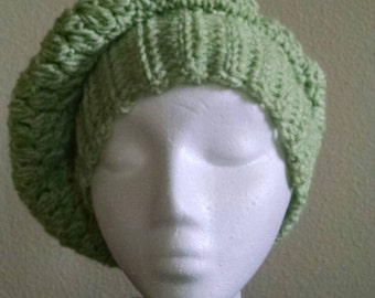 Fashion Slouch hat in Spring Mist Green. Crochet Handmade clothing accessory