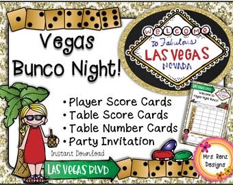 Las Vegas Bunco Party Set & Invitation