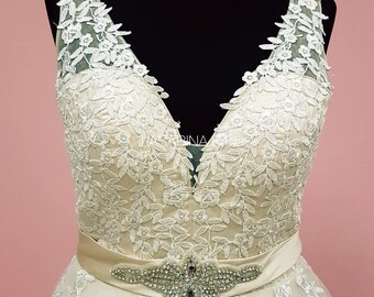 Vintage lace V neck wedding dress