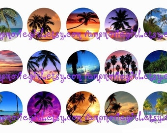 INSTANT DOWNLOAD...Beach Sunsets and Palm Trees 1 Inch Circle Images Collage Sheet for Bottle Caps ...Buy 3 get 1