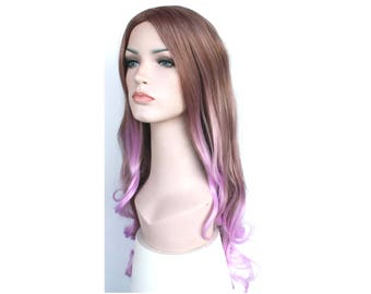 Brown Purple Lilac Ombre Curly long Wig. synthetic wig. ready to ship.