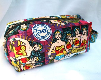 Toiletry Bag - Wonder Woman- School Supplies - Pencil and Electronics case - Makeup bag- Graduation Gift- Mother's Day Gift
