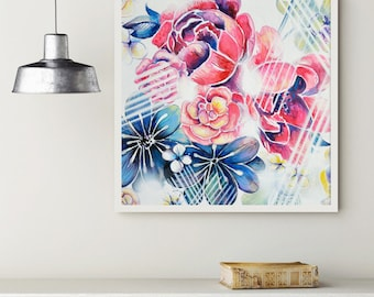 My flora - Original pink and blue flower painting, peony pink, white, violet and blue acrylic painting 20x20'/50x50cm