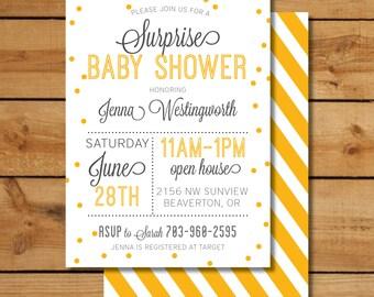 Yellow Surprise Baby Shower Invitation - Neutral Baby Shower