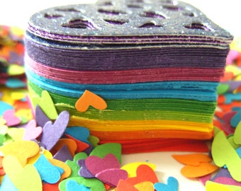 Rainbow, Love heart, Confetti, scrapbooking, card making, mix colour, By DoodleDee2 on etsy